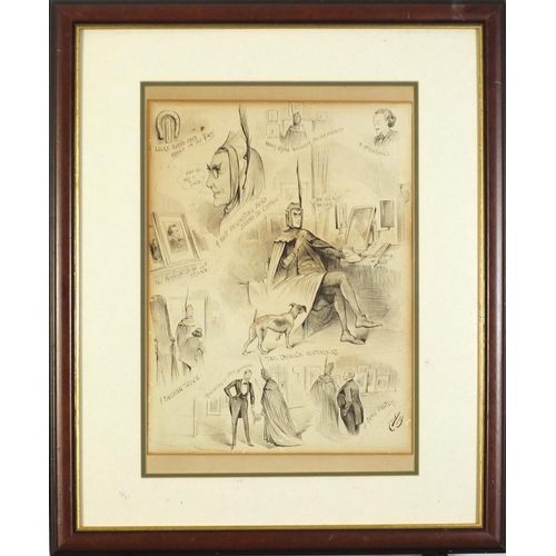987 - Attributed to Alfred Bryan - Sir Henry Irving as Mephistopheles, ink, mounted, framed and glazed, 35...