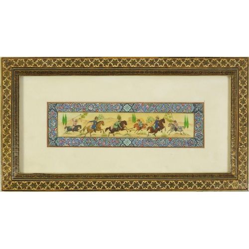 1151 - Two Persian panels hand painted with hunting scenes with painted floral borders, both mounted and fr...
