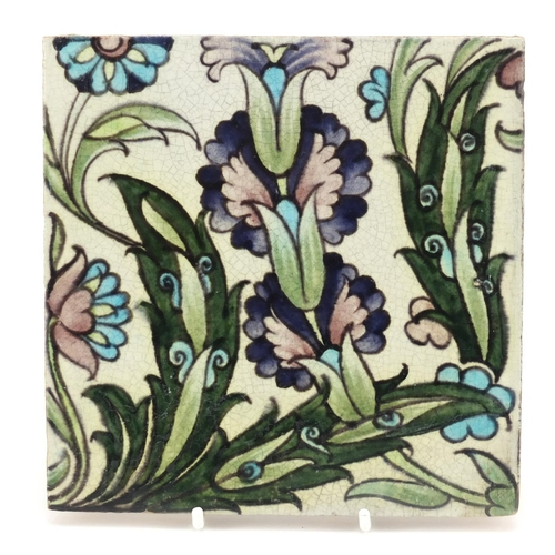 5 - William de Morgan for Sands End, Arts & Crafts pottery tile hand painted with stylised flowers, impr...