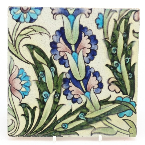 8 - William de Morgan for Sands End, Arts & Crafts pottery hand painted with stylised flowers, impressed...
