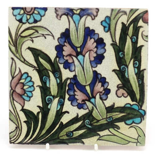 1 - William de Morgan for Sands End, Arts & Crafts pottery tile hand painted with stylised flowers, impr...