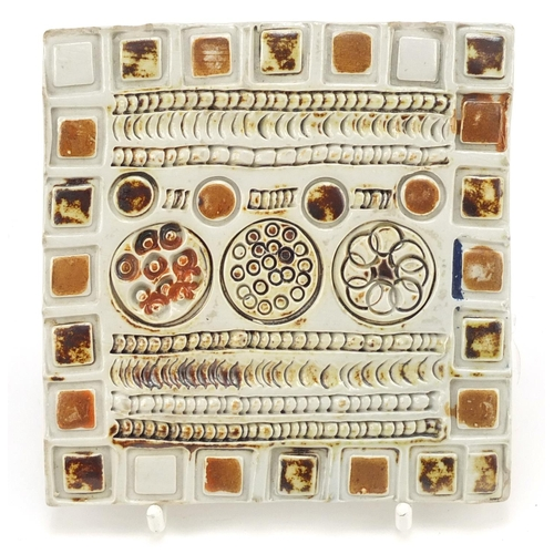 206 - Guy Sydenham, pottery tile titled Long Island, incised and impressed marks to the reverse, 10cm x 10...
