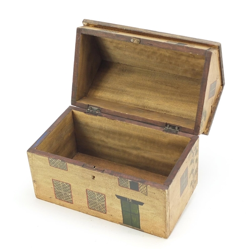 15 - Hand painted wood box in the form of a Georgian house, 22cm H x 26cm W x 16.5cm D...