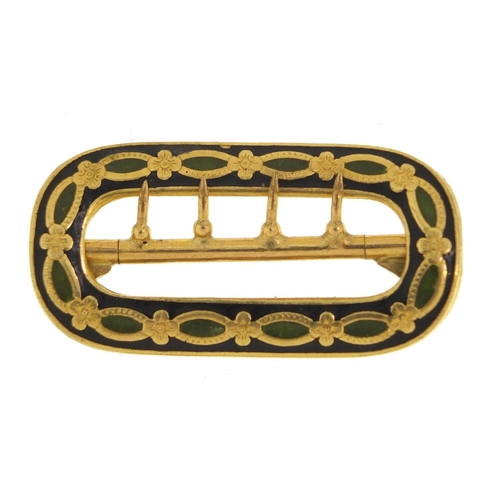 146 - Gold coloured metal and enamel buckle, impressed marks to the reverse, 4.9cm wide, 13.1g...