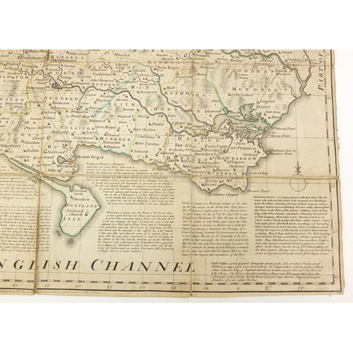 1266 - Emmanuel Bowen, 18th century Dorsetshire hand coloured folding map  with slip case, 70cm x 55.5cm...