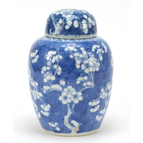 40 - Chinese blue and white porcelain ginger jar and cover, hand painted with prunus flowers, six figure ...
