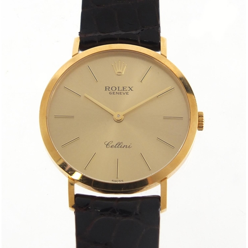 2340 - Rolex Cellini, gentlemen's 18ct gold manual wristwatch with cloth pouch, the case numbered W027798, ...