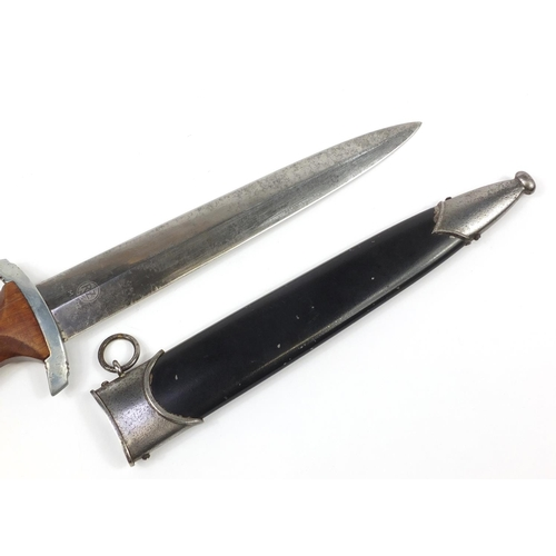 2130 - German military interest NSKK dagger by RZM with engraved steel blade and scabbard, 37.5cm in length...