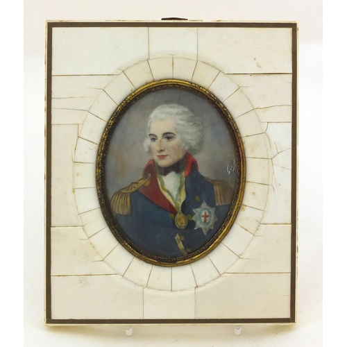 30 - Naval interest oval portrait miniature of Nelson housed in a sectional frame, the miniature 8cm x 6....