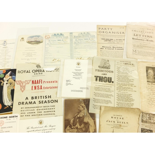 1264 - 17th century and later ephemera and a HM King George anniversary coronation plaque including Monthly...