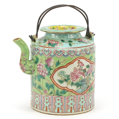 44 - Chinese porcelain Peranakan Straits type teapot hand painted in the famille rose palette with panels...