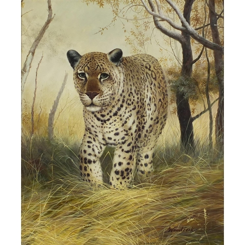 73 - Woodcock - Leopard in woodland, oil on canvas, framed, 61cm x 51cm excluding the frame...