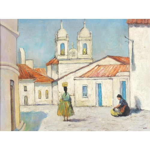 37 - Venice with two figures, Irish school oil on board, framed, 60cm x 44.5cm excluding the frame...