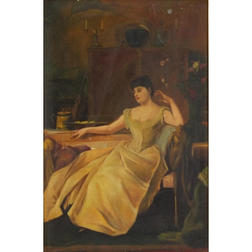 229 - Female in an interior, Italian Impressionist school oil on board, mounted and framed, 58cm x 38cm ex...