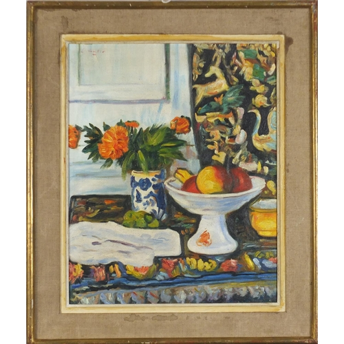 39 - Still life fruit and vessels, Scottish colourist school oil on board, mounted and framed, 47cm x 38c...