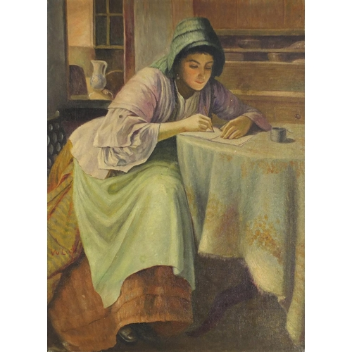 988 - After William Langley - Female at a table, oil on board, mounted and framed, 53.5cm x 39.5cm excludi...
