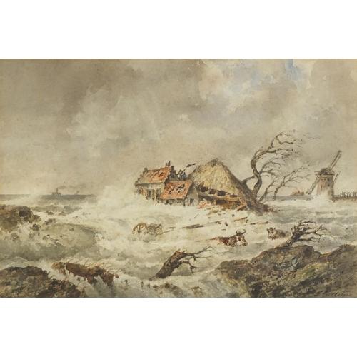 38 - Francois Carlebur - Flooded farmland with cows in water and a windmill, 19th century Dutch School wa...