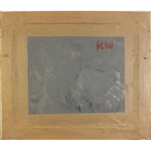 35 - Manner of Kyffin Williams - Farmer with dog, inscribed KW verso, Welsh school oil on board, framed, ...