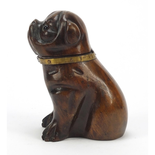16 - Victorian carved treen Pug dog design inkwell with glass collar and ceramic liner, 11.5cm high...