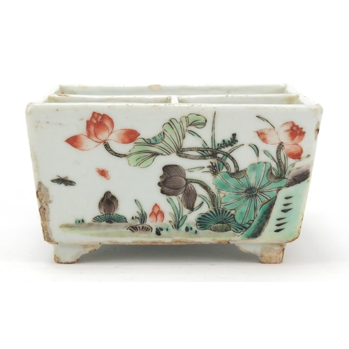 43 - Good Chinese porcelain sectional four footed planter hand painted in the famille verte palette with ...
