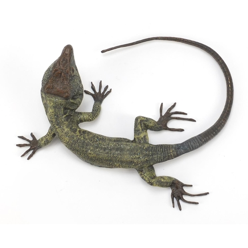 20 - Large Austrian cold painted bronze lizard in the style of Franz Xaver Bergmann, 25cm wide...