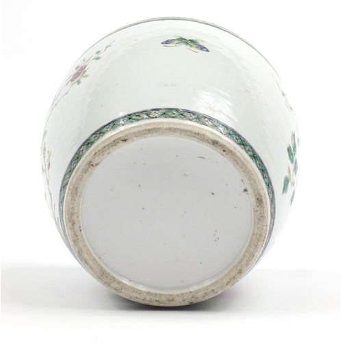 1153 - Good Chinese porcelain jardinière hand painted in the famille verte palette with birds and butterfli...