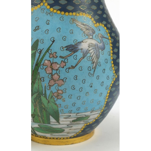 7 - Elkington & Co, pair of aesthetic cloisonné vases of Japanese influence probably by Auguste Adolphe ...
