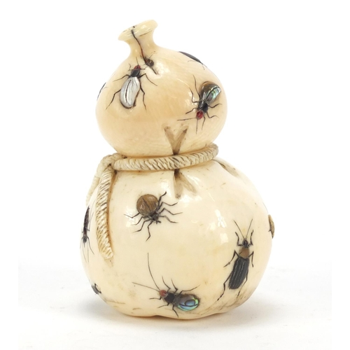52 - Good Japanese shibayama carved ivory double gourd sack inlaid with insects, 7.5cm high...
