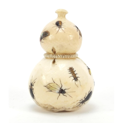 52 - Good Japanese shibayama carved ivory double gourd sack inlaid with insects, 7.5cm high