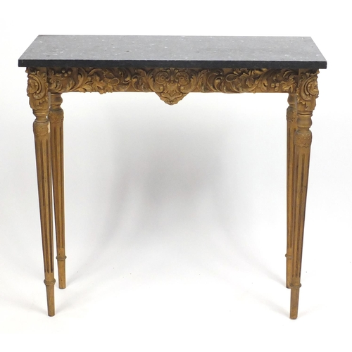 1553 - French gilt wood console table with black slate top, 75cm H x 75cm W x 27cm D...