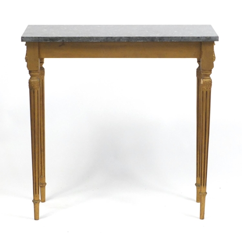 1552 - French gilt wood console table with black slate top, 76cm H x 76cm W x 31cm D...
