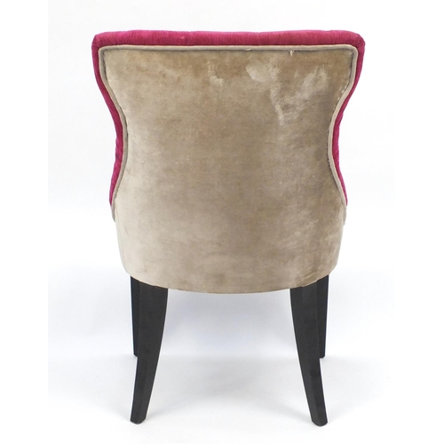 1515 - Pink and beige button back bedroom chair raised on square tapering legs, 94cm high...