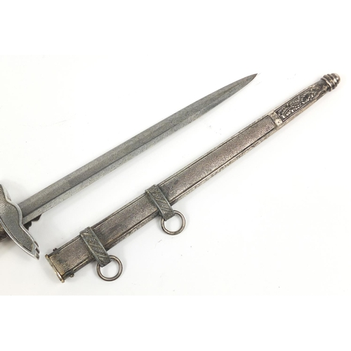 2129 - German military interest Luftwaffe 2nd pattern dagger with scabbard watered blade, 43cm in length...