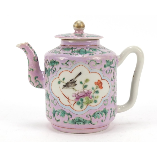 45 - Chinese porcelain Peranakan Straits type teapot hand painted with birds amongst flowers, 12cm high...