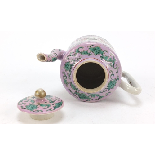 45 - Chinese porcelain Peranakan Straits type teapot hand painted with birds amongst flowers, 12cm high