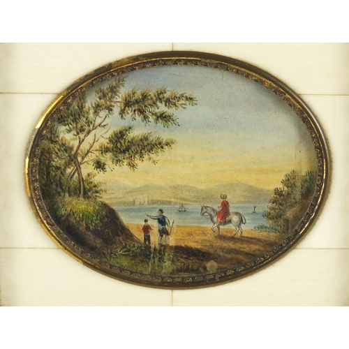 28 - 19th century oval watercolour miniature of figures before water housed in a sectional ivory frame, 8...