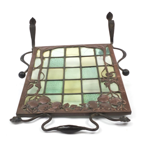 4 - Arts & Crafts wrought iron and copper fruit design firescreen with leaded clear and coloured glass p...