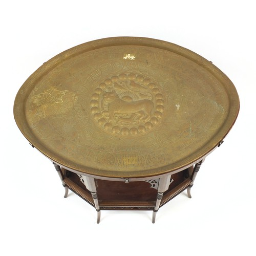 1513 - Liberty & Co, Moorish mahogany tea table with undertier and ornate brass lift out tray decorated wit...