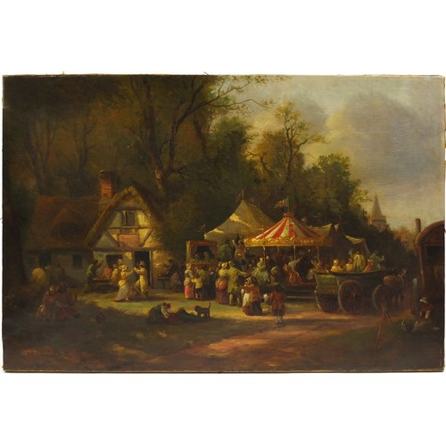36 - Town fête with Punch and Judy and a carousel, Victorian oil on canvas, unframed, 76.5cm x 51.5cm...