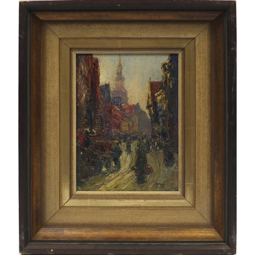1462 - Busy street scene, Impressionist oil on board, bearing an indistinct signature, possibly Oster? and ...