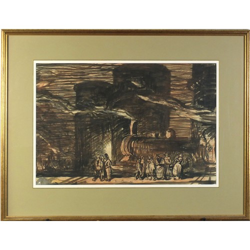 34 - Sir Frank Brangwyn - Gasometers Petroleums, ink and watercolour, mounted, framed and glazed, 54.5cm ...