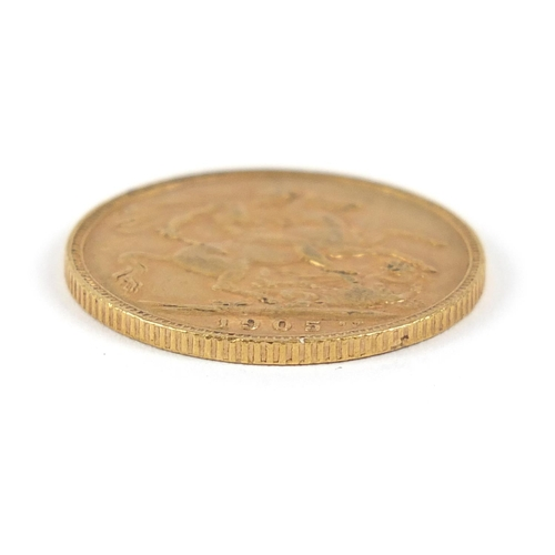 18 - Edward VII 1905 gold sovereign - this lot is sold without buyer's premium, the hammer price is the p...