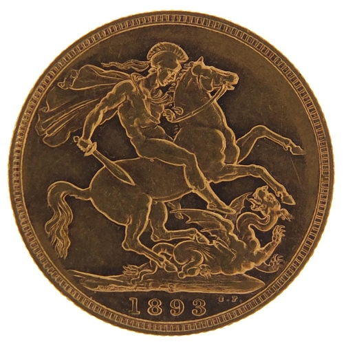 23 - Queen Victoria Jubilee Head 1893 gold sovereign, Sydney Mint - this lot is sold without buyer's prem...
