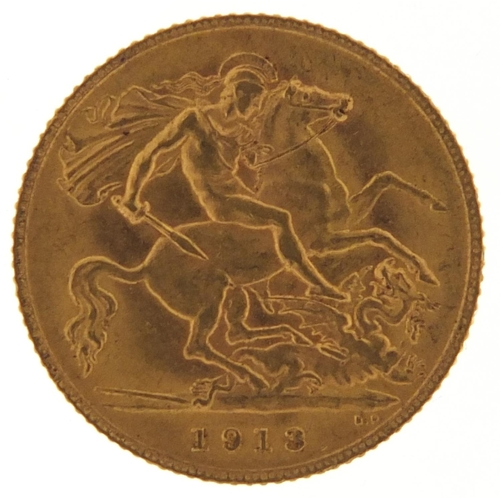 George V 1913 gold half sovereign - this lot is sold without buyer's premium, the hammer price is the price you pay