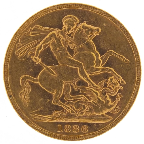 47 - Victoria Young Head 1886 gold sovereign, Melbourne mint - this lot is sold without buyer's premium, ...