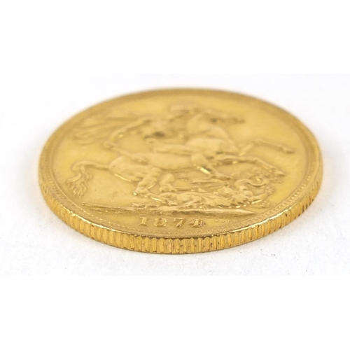 57 - Victoria Young Head 1874 gold sovereign, Sydney mint - this lot is sold without buyer's premium, the...