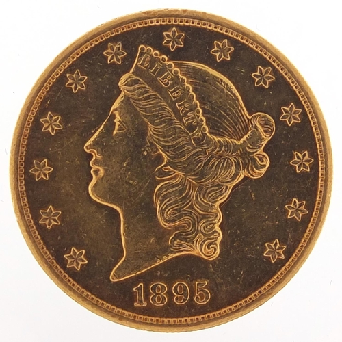10 - United States of America 1895 gold twenty dollars, Liberty head to the reverse, 33.6g - this lot is ...