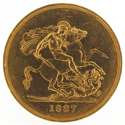40 - Queen Victoria Jubilee Head 1887 gold five pound coin - this lot is sold without buyer's premium, th...