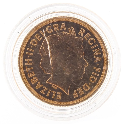7 - Elizabeth II 2013 gold proof sovereign - this lot is sold without buyer's premium, the hammer price ...