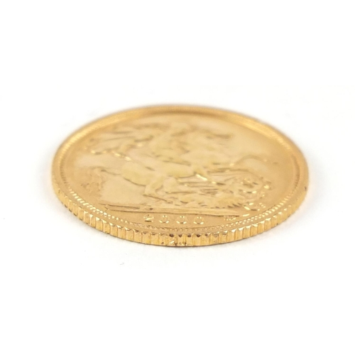 21 - Elizabeth II 2000 gold half sovereign - this lot is sold without buyer's premium, the hammer price i...